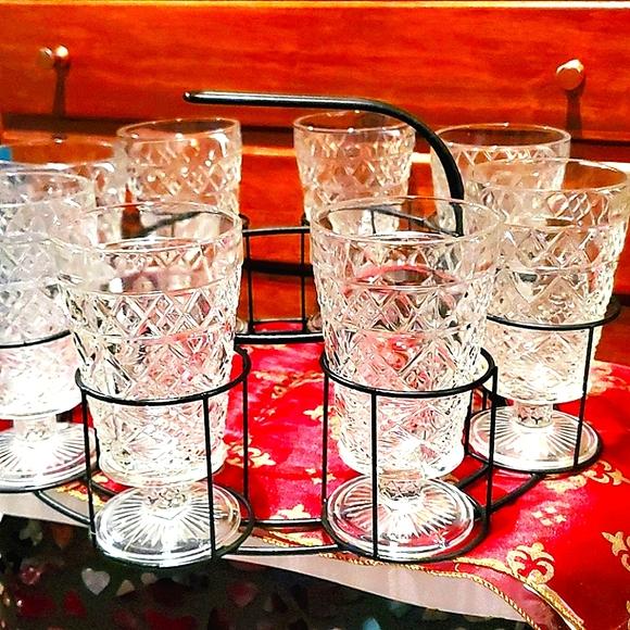 Vintage Pressed Glassware & Metal Caddy